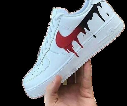 Nike Air Force 1 Custom Drip Swoosh Red/Black