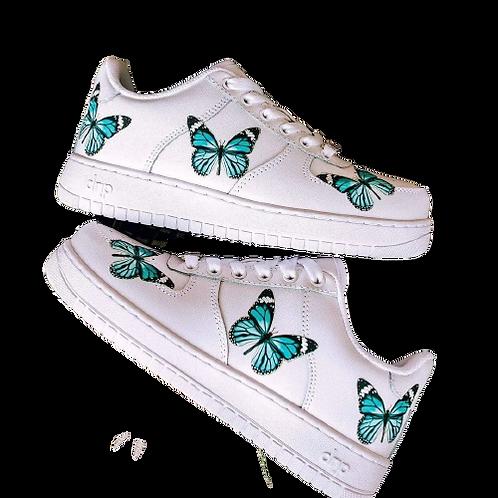 Nike Air Force 1 Custom Butterflies Light Blue