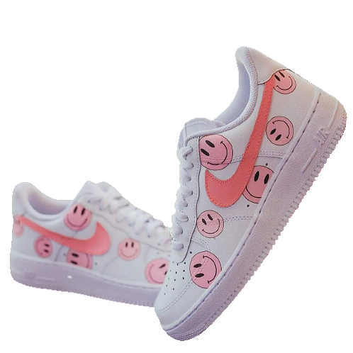 Nike Air Force 1 Custom Smiley Faces Pink