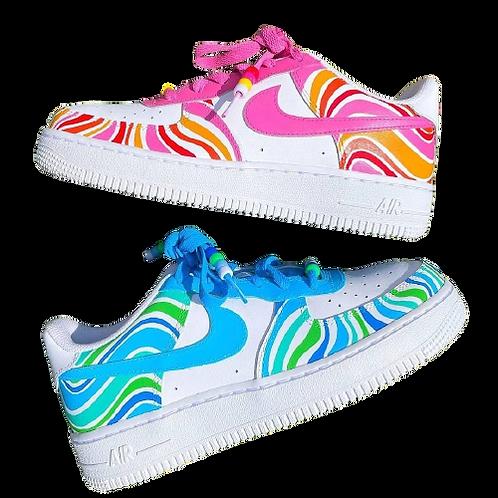 Nike Air Force 1 Custom Squiggles Pink/Cyan