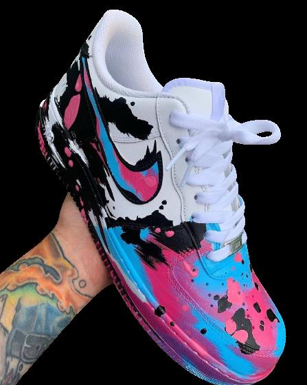 Nike Air Force 1 Custom Messy Pink/Black/Blue