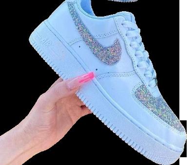 Nike Air Force 1 Custom Glitter Silver/Multi