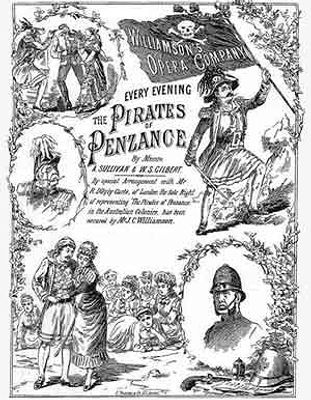 poster for the first production of The Pirates of Penzance