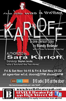 poster for the premiere of Karloff the authorized play about Boris Karloff