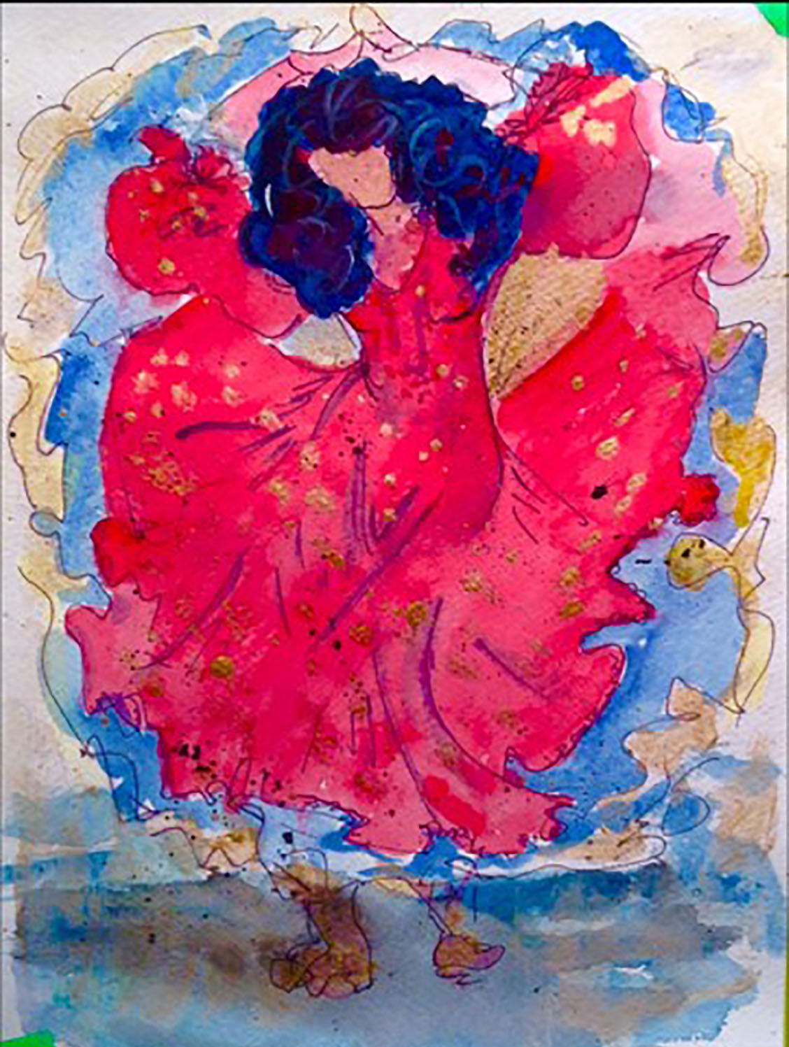 Red dancer,Watercolour on textured paper