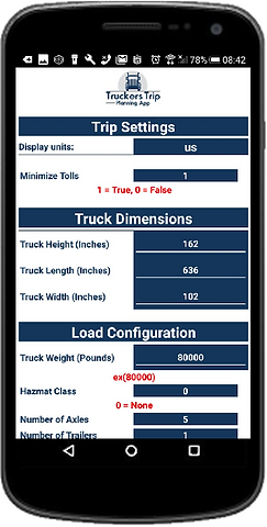 Commercial Truck Routes Trip Settings