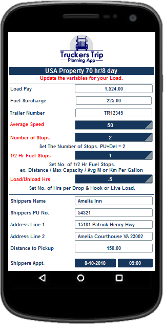 Trucker Trip Planning Worksheet image