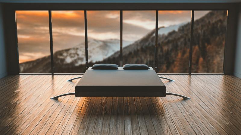 lit dans chambre à décoration minimaliste