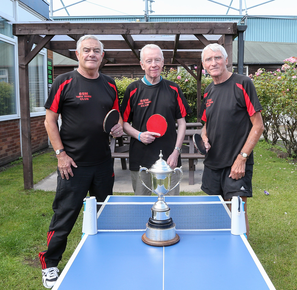 Ian McElwee, Ricky Brown (Captain) and Fred Bainbridge - BSM A, who won Div 2 of the L&DTTL in 2016/17