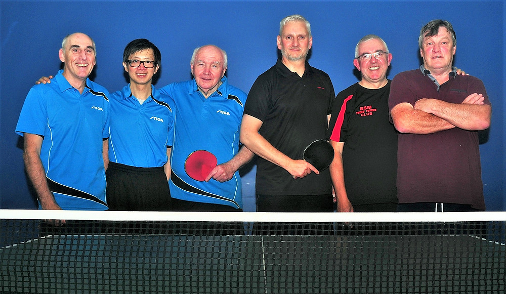 On the left, wearing their 'away' strip the B Team, Mal Kent, Andy Cheung and Brian Crolley (Cap't) and on the right the A Team, Colin Turner, Barry Davis (Cap't) and Ted Cramsie