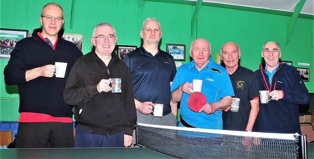 On the left, the A Team - Matt Wilson, Barry Davis (Captain) & Colin Turner; On the right the B Team - Brian Crolley (Captain), Keith Dudley, and Mal Kent