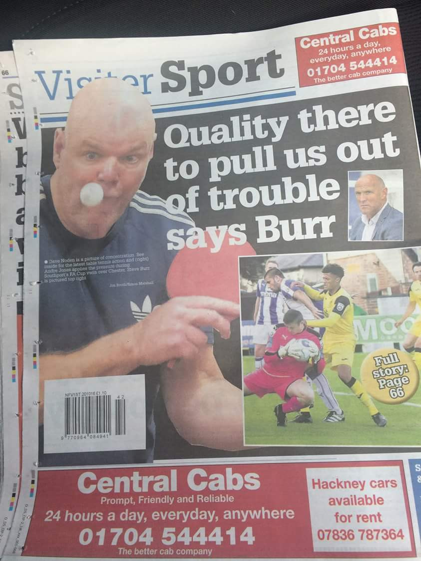 The face of concentration! Dave Noden on the back page of the Visiter