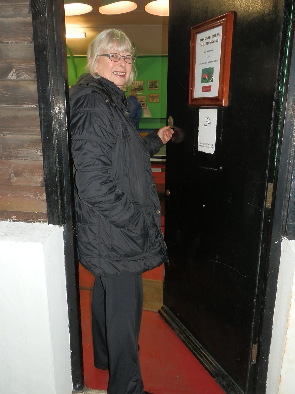 F Team Captain Mary Delamere, arrives at Marine on foot for her League match.