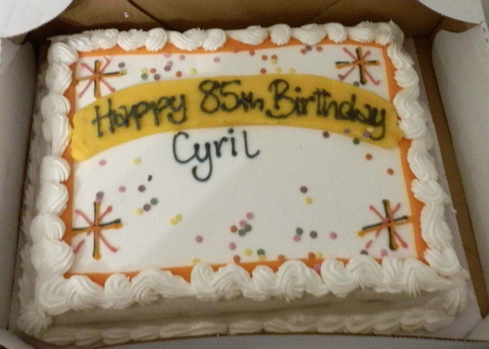 Cyril celebrated his 85th birthday with friends from BSM TTC and with cake and chip butties!