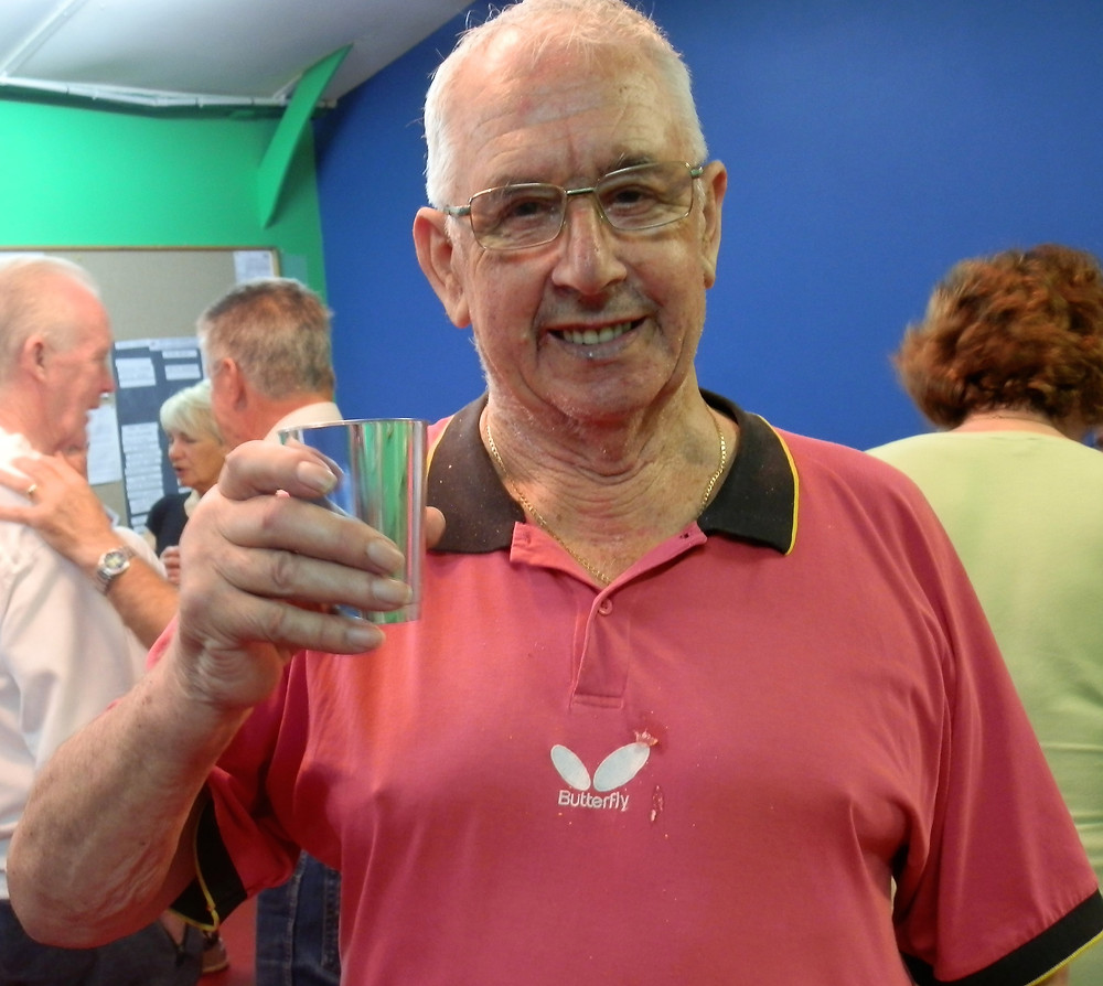 Oldest Club member, Don Gibson, celebrating his 85th birthday at marine and playing table tennis in July 2016