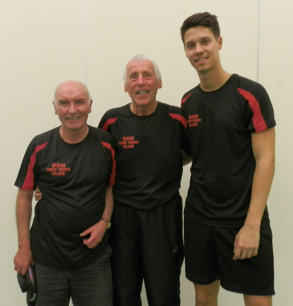 Keith Dudley, Peter Ashley and Miguel Monteiro, 3 of the F Team members. Miguel took Man of the Match stepping up to No.1 and performing in style.