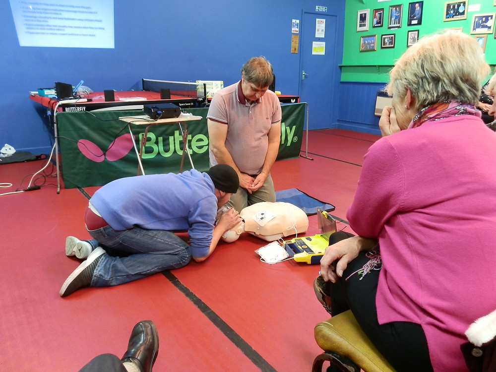 Alan & Russell demonstrated CPR as well as safe and applicable handling of the defibrillator