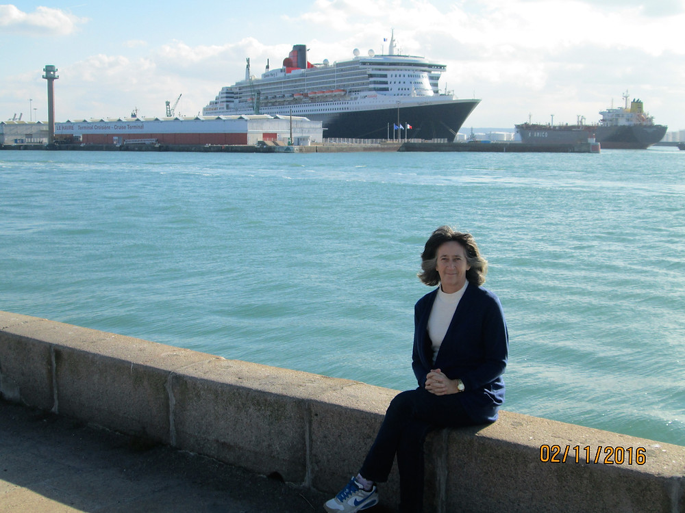 Julia Cornish just waiting for her transport to Marine, the QM2 no less, some people do like to travel in style even for table tennis!