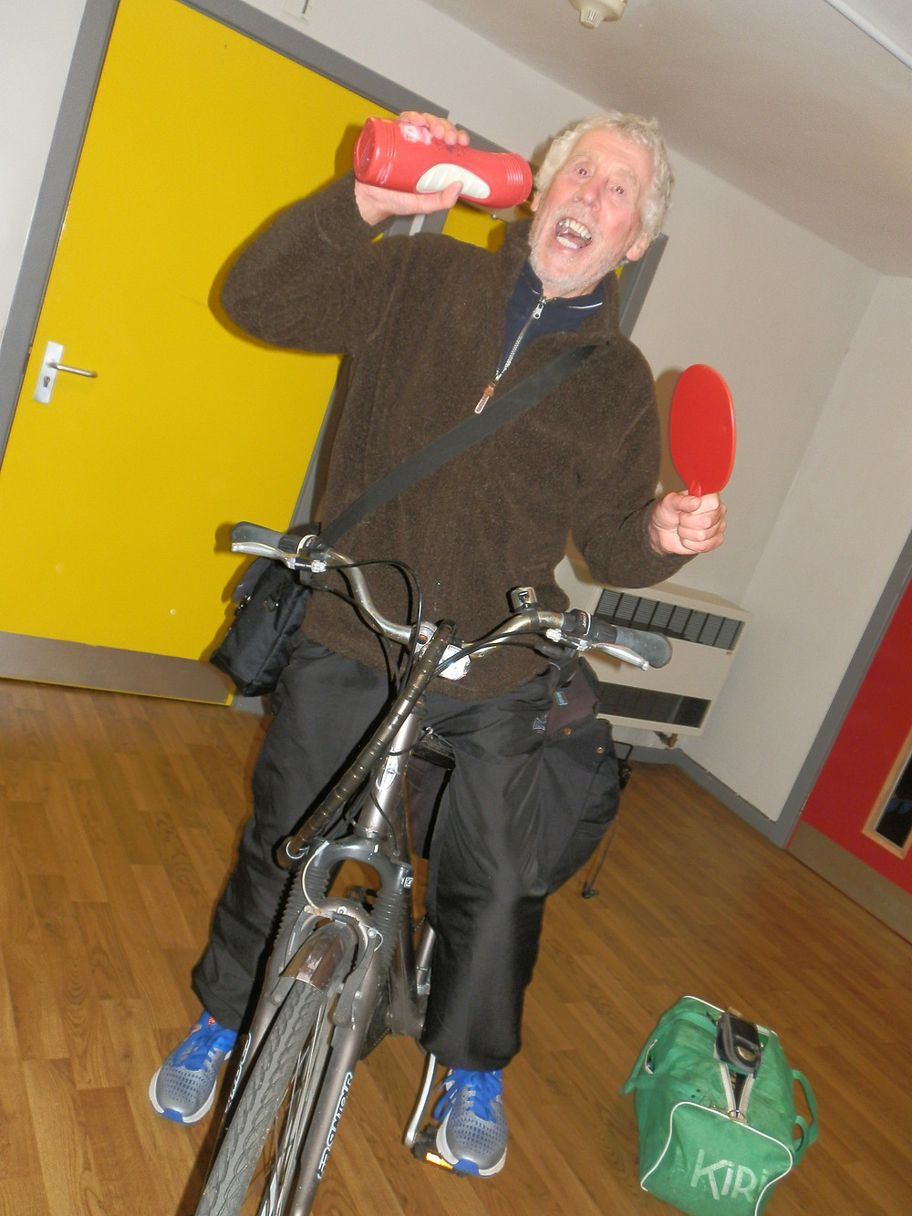 E Team regular Peter Ashley often uses his bicycle to get to Marine and other table tennis venues.