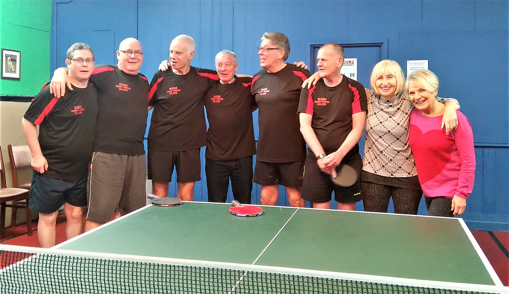 Members of the F Team - yes 8! But only 5 were playing - those wearing their club shirts of course! from the left, Mark Benson, Tony Rimmer, Ian Brownrigg, Keith Hardman (Captain - but not playing on the night), Bernard Cooney, Stuart Reid, Jenny Givens and Lesley Blanchard