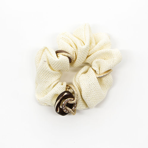 Scrunchie with Mother-of-Pearl and Swarovski Crystals
