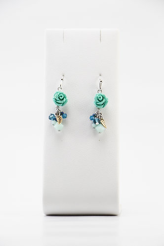 The Pinnacles Collection - Mint Alabaster Carved Rose Earrings