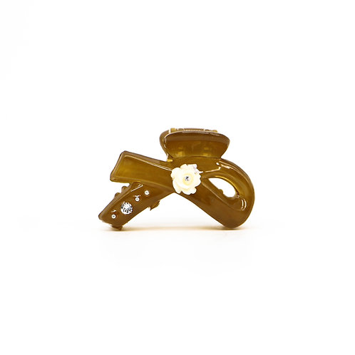 Rachel Jaw Clip with Rose (Min) - Neutral Colours