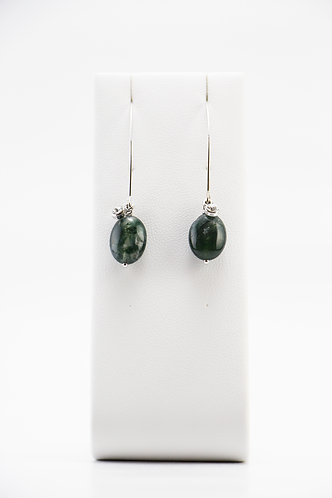 The Pinnacles Collection - Long Moss Agate Earrings