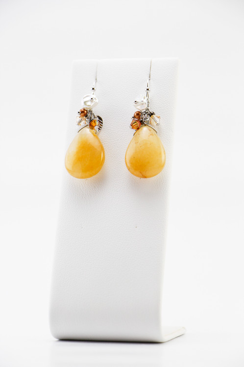 Br And Alloy Plated With Genuine Rhodium Made Swarovski Crystals Pearls Keshi Natural Yellow Jade Nickel Free Ear Hooks