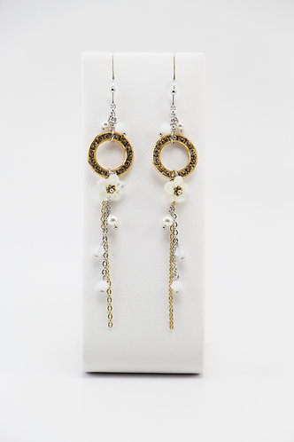 The Pinnacles Collection - 14K Gold Crystal Ring & Mother-of-Pearl Earrings