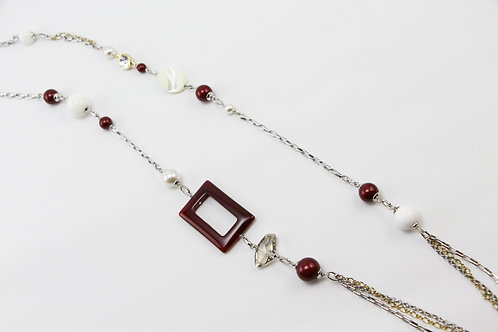 The Pinnacles Collection - Red Agate and Shell Pearl Beads Long Necklace