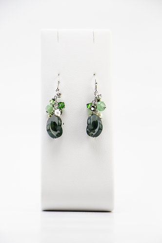 The Pinnacles Collection - Moss Agate and Pearls Earrings
