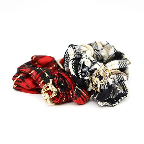 Chequered Scrunchie with Gold-plated Links and Swarovski Crystals
