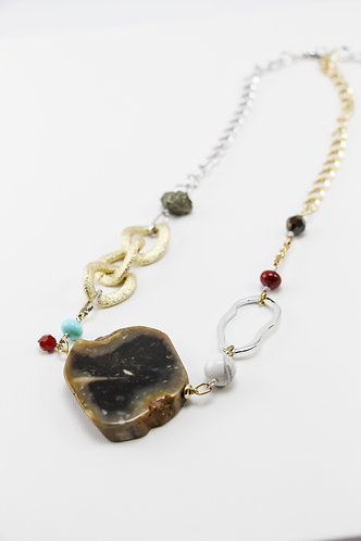The Pinnacles Collection - Natural Agate Stone and Pyrite Necklace