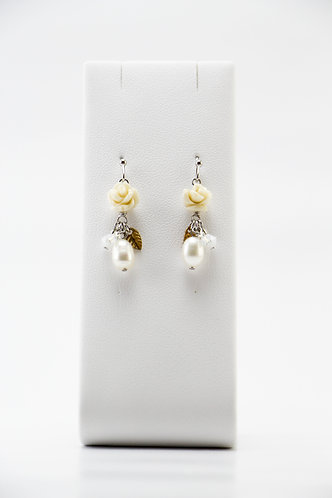 The Pinnacles Collection - White Alabaster Carved Rose and Pearl Earrings