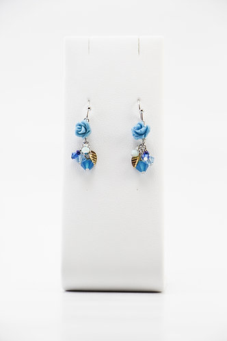 The Pinnacles Collection - Capri-Blue Carved Pearl Earrings