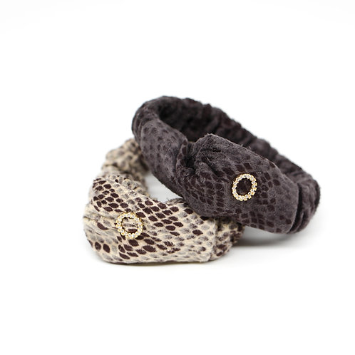 Leopard-print Scrunchie with Cubic Zirconia Ring