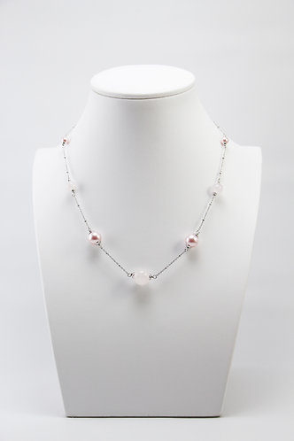 The Pinnacles Collection - Rose Quartz Beads and Pearls Necklace