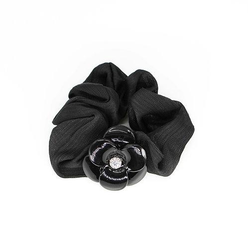Scrunchie with Medium Camellia and Swarovski Crystals