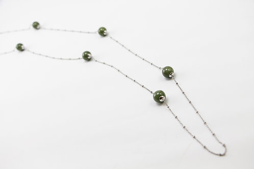 The Pinnacles Collection - Burmese Jade Beads Long Necklace