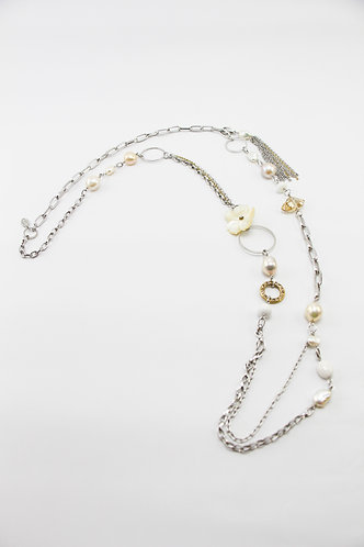 The Pinnacles Collection - Flora and Clam Beads Long Necklace