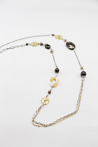 The Pinnacles Collection - Flora and Mother-of-Pearl Long Necklace