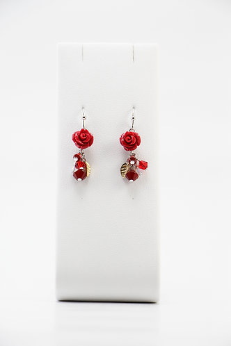The Pinnacles Collection - Dark Red Coral Carved Rose Earrings