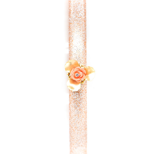 Hairband with Rose Bud and Gold-plated Trillium Flower