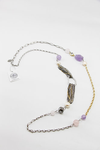 The Pinnacles Collection - Rose Quartz and Lavender Amethyst Long Necklace