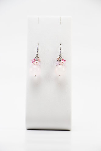 The Pinnacles Collection - Rose Quartz & Pearls Earrings