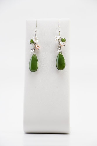 The Pinnacles Collection - Canadian Jade Teardrop with Aventurine Beads Earrings