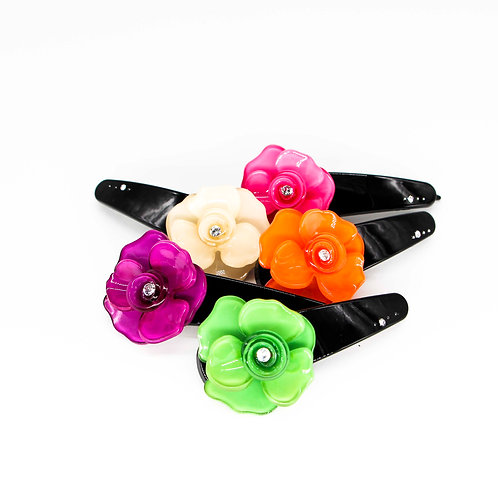 Andrea Dot-Pin Barrette with Pansy (Medium)
