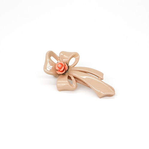 Rebecca Alligator Clip with Rose Bud (Neutral Colours)
