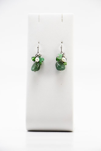 The Pinnacles Collection - Aventurine & Pearls Earrings